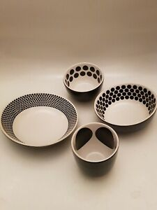 Ikea Black & White Spotted Tableware Set Of 4 Bowls Porcelain Snack Bowls (A8)