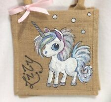 Personalised Hand painted Sparkly Unicorn Jute Mini Gift Lunch Bag
