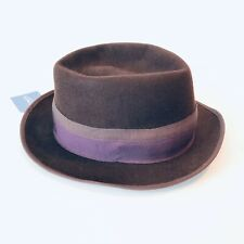 Tracy Watts Brooklyn NY Arcadian Rabbit Felt Fedora M Medium Brown Purple NWT