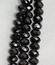 8x6mm JET BLACK Crystal Glass Faceted Rondelle Beads, 45 beads bgl0594