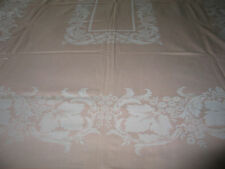 Simtex Antique Vtg Linen Damask Tablecloth~Art Nouveau Style Acanthus Leaves