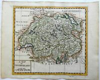 Switzerland Geneva Basel Lucerne Swiss Alps 1713 Moll miniature map hand color