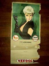 Calendrier Huile VEEDOL An 50 Pin Up Femme Calendar Affiche Poster Bidon