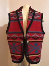 Pendleton Red Southwest Blanket Concho Vest Size L Euc