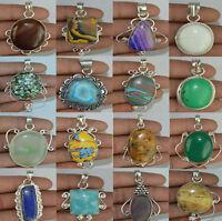 Larimar & Mix stone 925 sterling silver overlay pendants lot 10 to 250pcs EB523