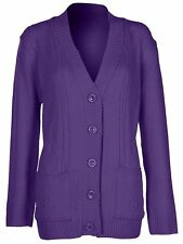 Womens 5 Button Cable Knit Winter Ladies Cardigan Knitted Jumper Size 8 10 12 14 Large / X-large Dark Purple