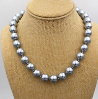 "12mm Silver Gray SEA SHELL PEARL NECKLACE 18"" AAA"