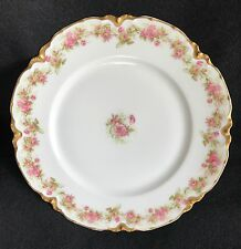 """FOUR HAVILAND LIMOGES PINK ROSE GOLD SCALLOPED EDGE 9.5"""" DINNER PLATES AND ONE 8"""