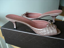 Gucci womens sandals shoes Microguccissima metallic leather logo slides Sz 6 NIB