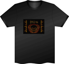 Sound Activated Fire Skull Flashing LED TShirt XL Club Night Disco Party Unisex