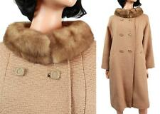 Vintage Mink Collar Winter Coat M L Light Brown Tan Wool Real Fur Long 50s 60s