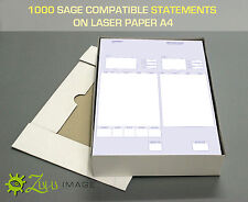 1000 SAGE COMPATIBLE STATEMENT/REMITTANCE FORMS ON LASER PAPER A4 210 X 297mm