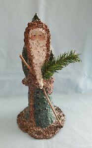 Linda Lindquist Baldwin Belsnickle Schmid Green/Brown Santa w/C. Tree & W. Stick