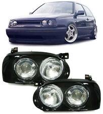 BLACK TWIN / DOUBLE HEADLIGHTS HEADLAMPS FOR VW GOLF MK3 MK 3 NICE GIFT