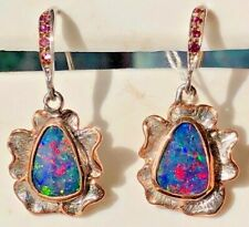 Vintage Victorian 100% Natural Australian Black Pink Red Opal Earrings Gold Ruby