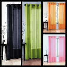 2PC SOLID SHEER INDOOR PANEL 8 BRONZE GROMMETS WINDOW CURTAIN VERSATILE RUBY