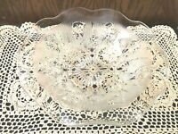"VINTAGE 9"" CLEAR GLASS ROUND SERVING BOWL WITH ETCHED FLOWERS"