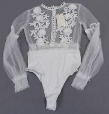 Vera & Lucy Women's I'll See To It Floral Bodysuit SV3 White Small NWT
