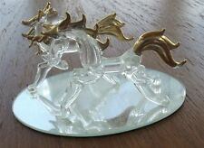 Crystal Fantasy Unicorns Statue W/Gold Accents on Mirror