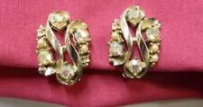 Rhinestone Pearls Clip On Earrings Silver Plated Costume Fashion Vintage
