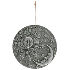 Silver Terracotta Sun and Moon Hanging Plaque 22.5x22.5cm Great In/Outdoor Decor