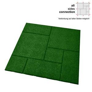 1x Fallschutzmatten + Verbinder, GRÜN, Fallschutzplatten allseitig verbindbar