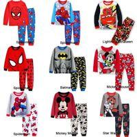 Spiderman Mickey Kids Toddler Baby Boys Pyjamas Pajamas Set Nightwear Age 2-8