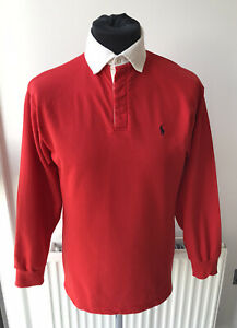 Ralph Lauren Polo Mens Long Sleeve Rugby Shirt Red White Size Small