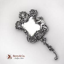Unusual Ornate Hand Mirror Cherub Floral Scroll German 800 Silver 1890