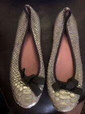 ALAIA 39 Gray Python Snakeskin Leather Ballet Flats 8.5