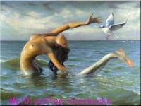 CHENPAT744 100%  hand paint mermaid on ocean &birds oil painting art canvas
