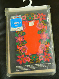 """Vintage Aunt Lydia's FLOWERS #203 Colonial Rug Punch Needle Pattern  24"""" X 36"""""""