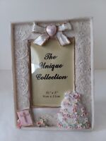 "Ceramic Wedding Cake Bible Garter Picture Frame 3 1/2"" x 5'"