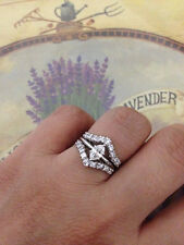 0.95ct Marquise Diamond 14K Solid White Gold Solitaire Enhancer Wrap Guard Ring