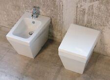 Sanitari filo parete con vaso sedile e bidet monoforo B.side azzurra ceramica
