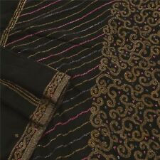 Sanskriti Vintage Saree Pure Georgette Silk Hand Beaded Black Fabric Premium Eth