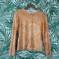 J McLaughlin Orange Paisley Crew Neck Knit Sweater Women's Size XS