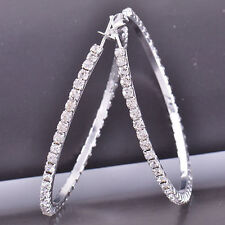 "Pretty New 9K Silver White Gold Filled Clear Crystal CZ 1.7"" Round Hoop Earrings"