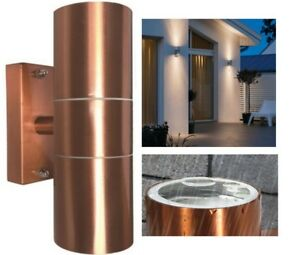 Garden Up Down Exterior LED GU10 Patio Garage Wall Mounted Light Copper Fitting