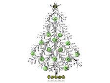Erinite Crystal Silver Tone Christmas Tree Holiday Festive Green Cute Pin Brooch