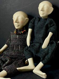 Lot Of 2 Unidentified OOAK (?) Handcrafted Artist Ceramic/Porcelain Dolls