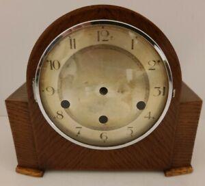 Antique 1920s Oak Art Deco Triple Chime Tambour Humpback Mantel Shelf Clock Case