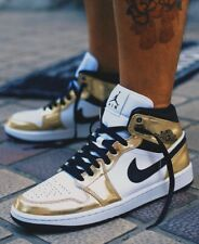 """Nike Air Jordan 1 Mid """"Metallic Gold Black White"""" PRESALE Size 4-14 DC1419-700"""