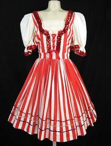 Vintage Corset Novelty Dress L Red White Stripes Full Skirt Square Folk Dance