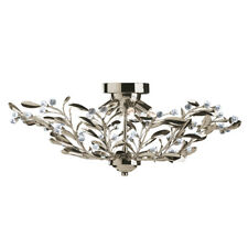 Searchlight 5256-6AB Lima Antique Brass 6 Light Semi-Flush Crystal and Glass