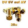 20 Fahrrad Ventil Adapter von DV SV auf KFZ Pumpe Autoventil AV Ventiladapter
