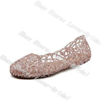 Women Ventilate Crystal Shoes Jelly Hollow Sandals Summer Beach Flat Shoes