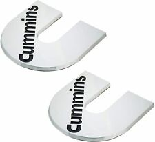 White 2pcs Cummins Emblems Decal Plaque Turbo Diesel Badge Cumming Door Tailgate Nameplate Fender Compatible with 2500 3500