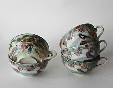 Vintage Asian Hand Painted Porcelain Tea Cups Japan Geisha Bird Set of 2 Pc