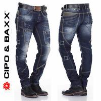 CIPO & BAXX Herren Jeans C-1114 NEU Hose Straight Cut Regular Gerades Bein Denim